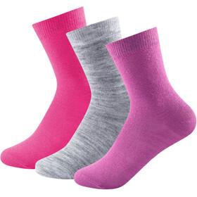 Devold Daily Light Socks Kids 3 Pack Pink Mix